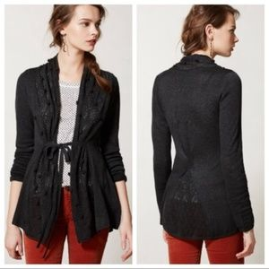 Anthropologie Knitted Knotted Kose Pom Cardigan M